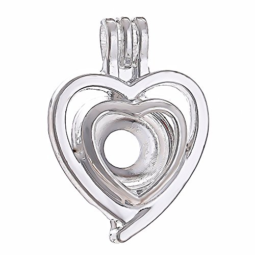 10pcs Heart Pearl Cage Bright Silver Beads Cage Locket Pendant Jewelry Making--For Oyster Pearls, Essential Oil Diffuser, Fun Gifts (Heart) - Pearl Heart Pendant Jewelry