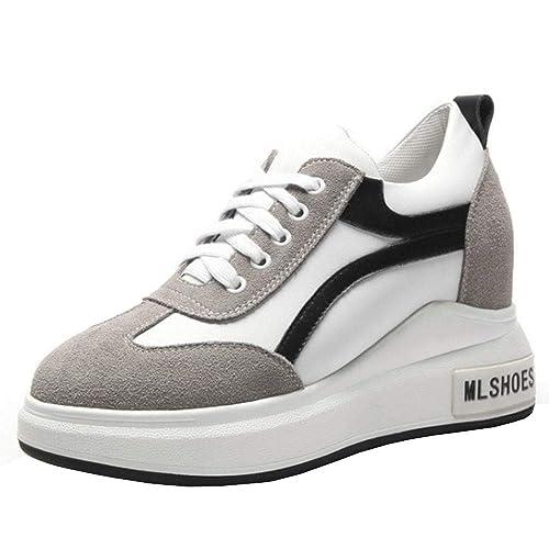 Lydee Mujer Moda Sneaker Aumento Tacones Altos Zapatos Deportivos High Top Lace Up Zapatillas Skate Antideslizante