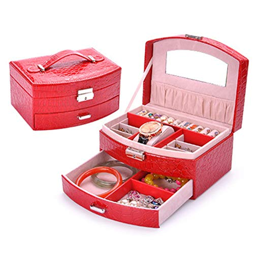 KIKISHOPQ Jewelry Organizer Box Necklace Partition for Earrings Bracelets Rings Watches(Red3 One Size) ()