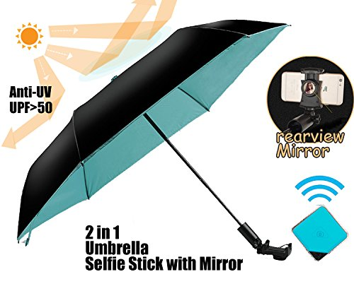 NEWBRELLAs Compact Travel Umbrella and Selfie Stick with Mirror 2 in 1 -