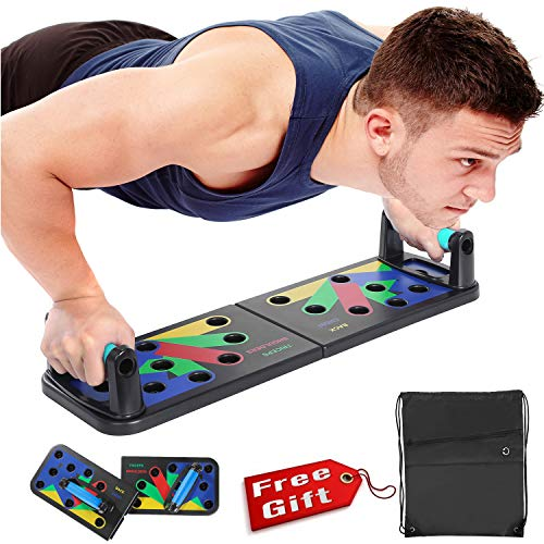 NEWEST Push Up Board 11 in 1 Collapsible Portable Fitness Exercise Workout Push-up Tools Pushup Stands Come with Workout Schedule Portable Backpack Non-Slip Stickers (Black, Middle)