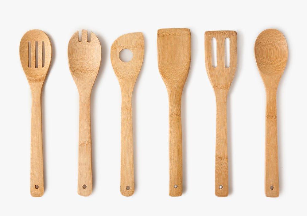Home Basic - Juego de cucharas, utensilios de cocina de bambú , 6-er