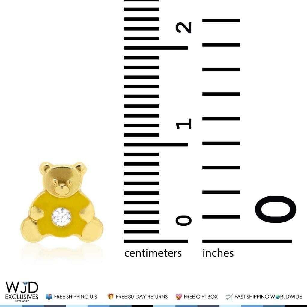 14K Solid Yellow Gold Enamel /& Zircon Teddy Bear Baby Screwback Stud Earrings