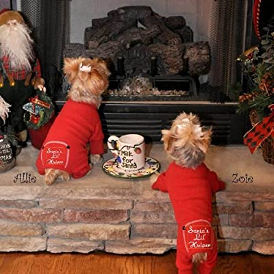 """""""Santa's Lil Helper"""" Dog Pet Christmas Embroidered Cotton Pajamas All Sizes by DOGGIE DESIGN"""