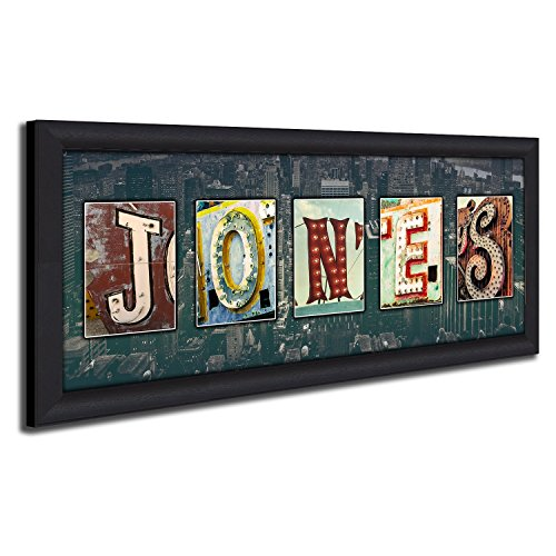 Personalized Vintage, Neon, Urban, Architecture Signs Name Alphabet Art. (Framed Canvas - 13.5 x 32.5) by Personal Prints