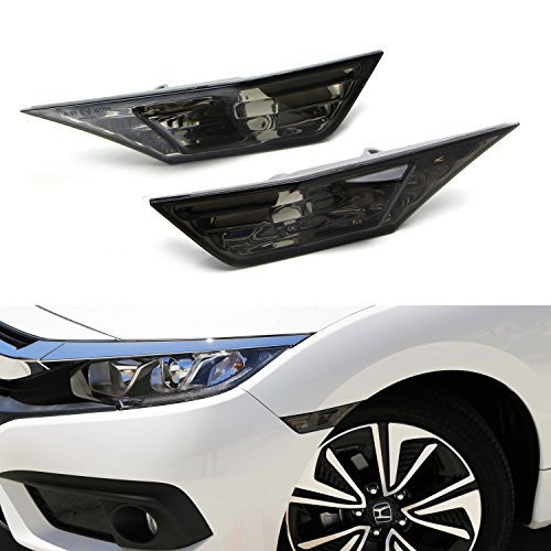 iJDMTOY (2) Left & Right JDM Smoked Side Marker Lamp Lens For 2016-up 10th Gen Honda Civic Sedan/Coupe/Hatchback