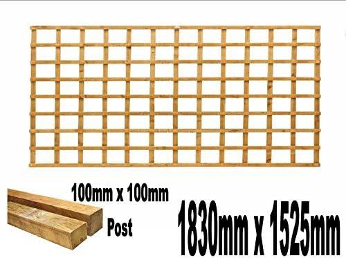 Enrejado de jardín de 1830 mm x 1525 mm con 2 postes de 100 mm x 100 mm, resistente y tratada a presión, color dorado: Amazon.es: Bricolaje y herramientas