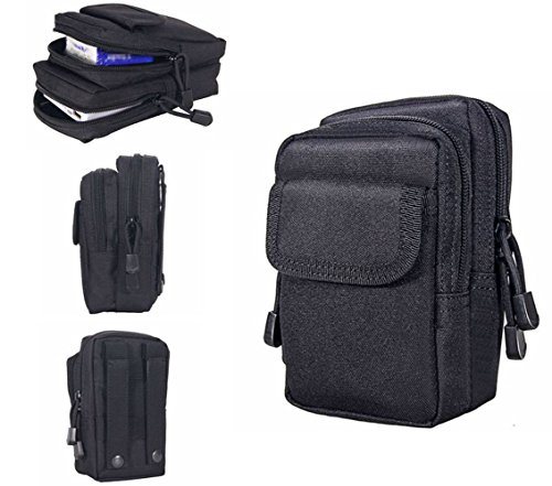 DOHOT Multi-Purpose Tactical MOLLE EDC Pouch with Waterproof Function and 6 Pockets for Camping Hiking, Black