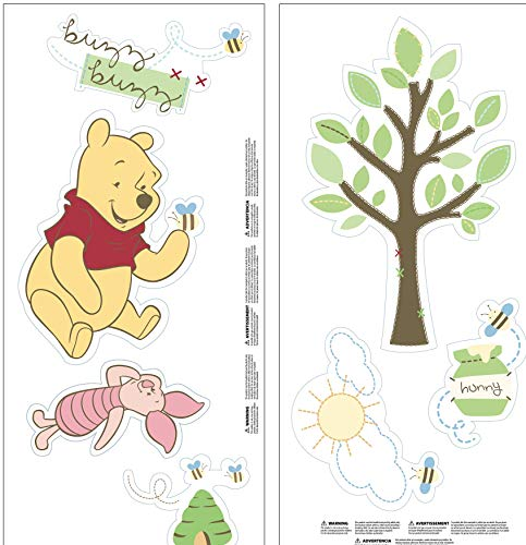 Disney Winnie The Pooh - Pooh's ABC Wall Decals, Green, Yellow, Pink, Brown (Dresser Green Rustic)
