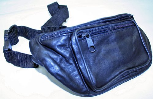 New Black Premium Leather Travel Fanny Pack -Waist Pack, Outdoor Stuffs