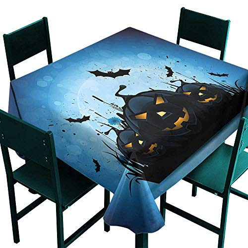 Warm Family Halloween Stain-Resistant tableclothScary Pumpkins in Grass with Bats Full Moon Traditional Composition for Kitchen Dinning Tabletop Decoration W54 x L54 ()