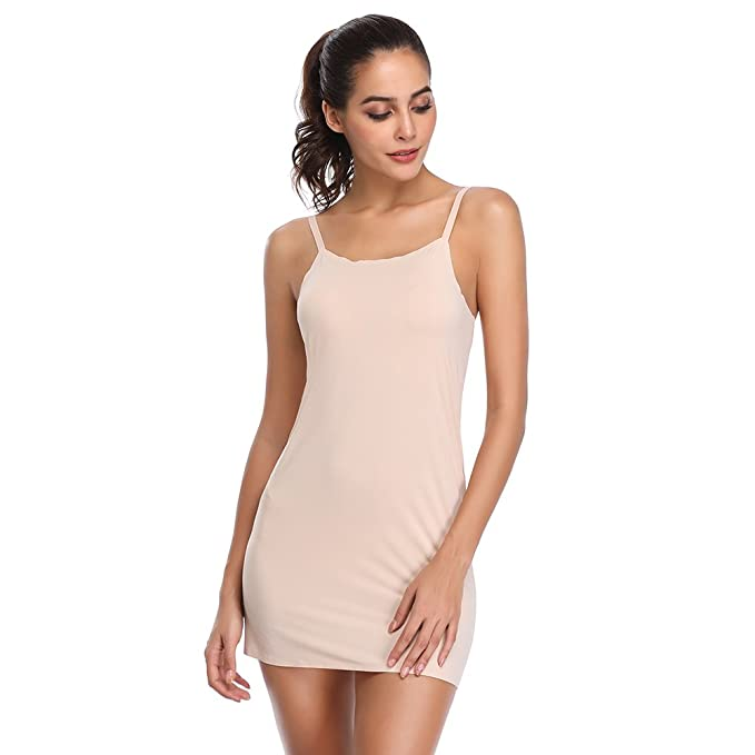9e165da8c61a3 Full Slips for Women Under Dress Long Camisole Seamless Slimmer Body Shaper  Nightgown Sleepwear(Beige