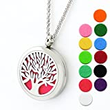 "Lademayh Tree of Life Aromatherapy Essential Oil Diffuser Necklace Jewelry Diffuser Necklace, 30mm Magnetic Stainless Steel Pendant Diffuser Locket with 2pcs 24"" Chians & 12 Refill Pads"