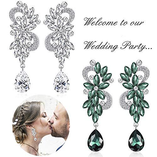 - Milacolato Bohemian Dangle Earrings Made of Austrian Crystal&Zinc alloy for Wedding Bridal Chandelier Teardrop Earrings Green