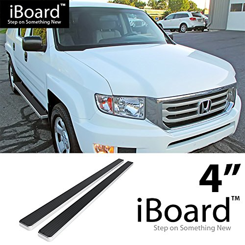 "Off Roader eBoard Running Boards Silver 4"" Fit 2006-2014 Honda Ridgeline Crew Cab Pickup 4-Door (Nerf Bars 