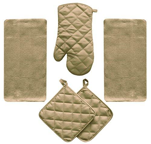 (5 Piece Tan Beige Kitchen Linen Towel Set Solid Colors Heavy Weight Cotton With Potholder Oven Mitt)