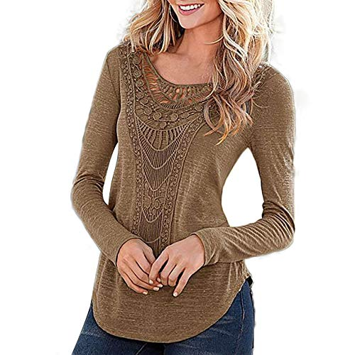 Honwenle Women Round Neck Applique Hollow Out Plain Long Sleeve Vintage Shirt ()