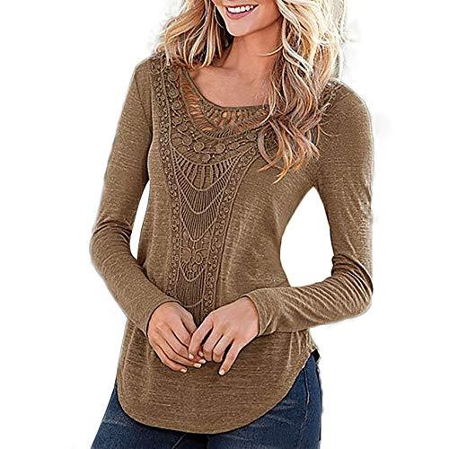 Honwenle Women Round Neck Applique Hollow Out Plain Long Sleeve Vintage Shirt ()