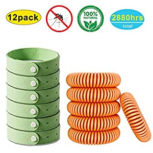 YHMALL 12 Pack of Natural Mosquito Repellent Bracelet - Insect Bugs Repellent Bands