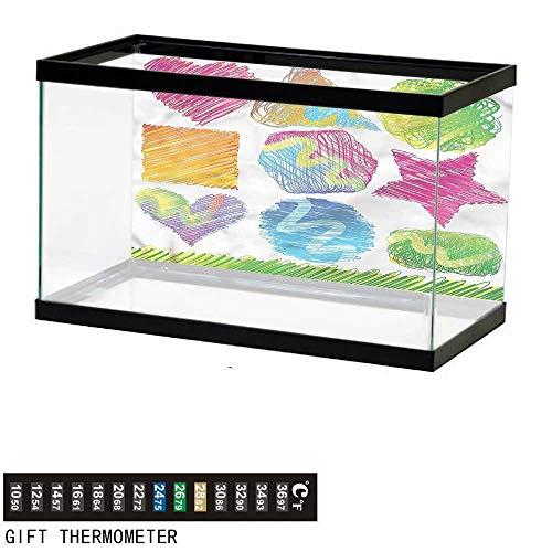 homecoco Fish Tank Backdrop Doodle,Heart Square Circle Triangle,Aquarium Background,48