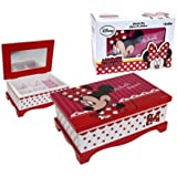 Official Disney Minnie Mouse Red Rectangular Jewellery Box with Mirror