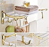 GL&G European luxury white copper Bathroom Bath Towel Rack fold Wall Mount Double Towel Bar Bathroom Storage Organizer Shelf Bathroom Accessories Bathroom Shelves