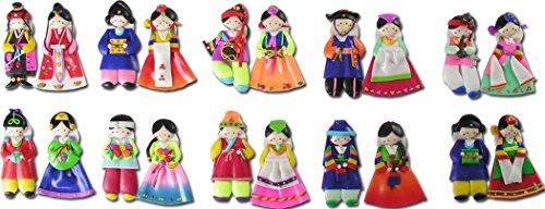 10pairs(20pcs) Korean Doll Fridge Magnets Hanbok Couple Adorable Wedding Gift ()