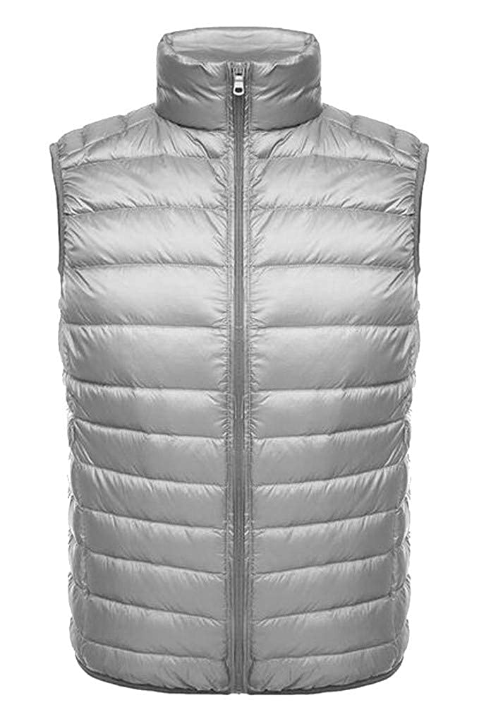Lutratocro Mens Packable Puffed Stand Collar Zip Lightweight Casual Jacket Down Vest