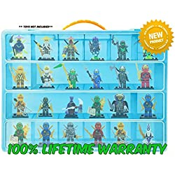 Lego Ninjago Carrying Case - Stores Dozens Of Figures - Durable Toy Storage Organizers By Life Made Better - Blue
