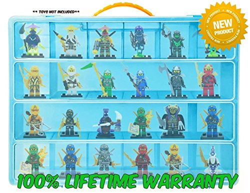 Life Made Better Toy Storage Organizer - Compatible With Lego Ninjago - Durable Carrying Case- Blue (Game Shirt T Halo Boys Video)
