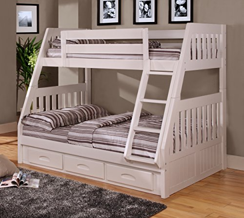 American Furniture Classics Twin Over Bunk Bed with 3 Drawers, Normal, White (American Furniture Classics Bunk Bed Twin Full)
