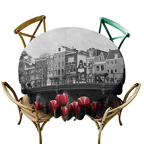 Zmlove Black and White Protective Round Tablecloth Monochrome Photo of Amsterdam Canal with Red Tulips and Houses Indoor/Outdoor Black White and Red (Round - 71