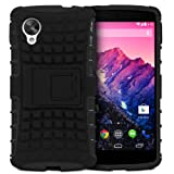 Fosmon HYBO-RAGGED Series Detachable Hybrid TPU + PC Case Cover with Kick Stand Function for the New LG Google Nexus 5 (Black)