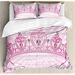 Ambesonne Queen Duvet Cover Set, Childhood Theme Pink Heart Shaped Princess Crown on Radial Backdrop Romantic, Decorative 3 Piece Bedding Set with 2 Pillow Shams, King Size, Light Pink