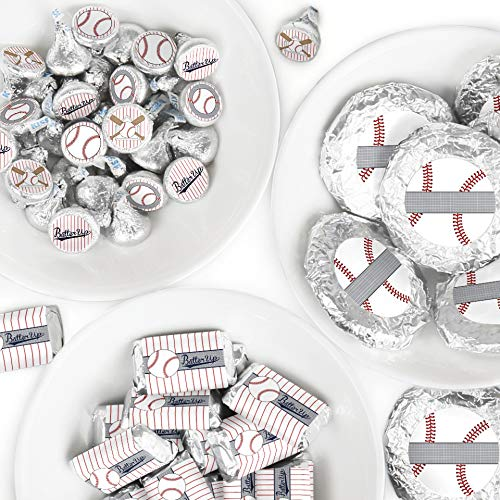 - Batter Up - Baseball - Mini Candy Bar Wrappers, Round Candy Stickers and Circle Stickers - Baby Shower or Birthday Party Candy Favor Sticker Kit - 304 Pieces