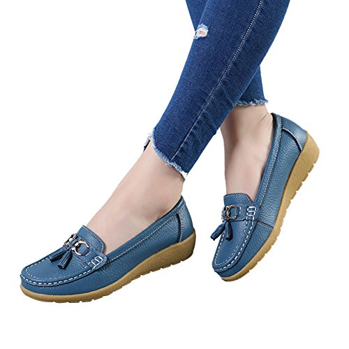 DEARWEN Womens Casual Leather Loafers Slip On Driving Shoes Light Blue kVmzfAB6B