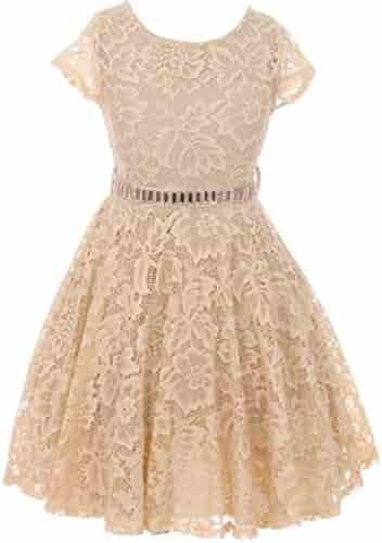 4af9b3844e BluNight Collection Little Girl Cap Sleeve Lace Skater Stone Belt Flower  Girls Dresses