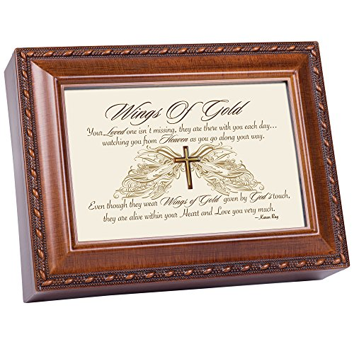 Wings Cottage - Cottage Garden Wings of Gold Within Heart Woodgrain Rope Trim Music Box Plays Amazing Grace