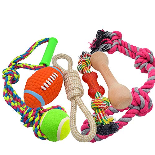 - AINOLWAY Medium Large Rope Dog Toys 6 Pack Set, 4 Sturdy Rope Toy with Ball and Handle for Tug of War & 1 Wooden Dog Bone & 1 Squeaker Football, Assortment for Large Breeds and Big Puppies