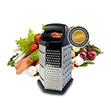 Isabella Dora Cheese Grater - 6-sided Stainless Steel Box Grater for Hard Cheese, Parmesan, Vegetable