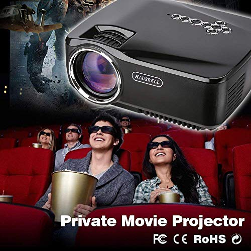 HAUSBELL Projector, LED Efficiency Mini Portable Video Projector for Outdoor Indoor Movie/Home Theater/Game, HDMI VGA USB AV SD Support (GP70)