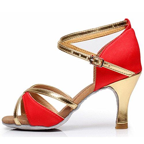 Azbro Mujer Zapato de Baile Latín de Tacón Alto Correa Cruzada con Puntera Abierta Rojo