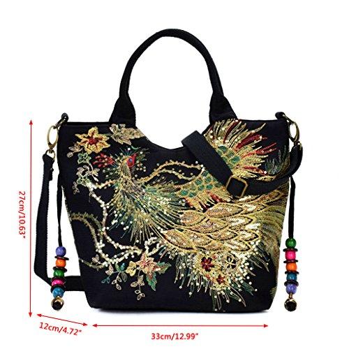 Tote Crossbody Ladies Black Peacock Senoow Embroidery Purse Ethnic Women Bag Shoulder Handbag q8wTRBx