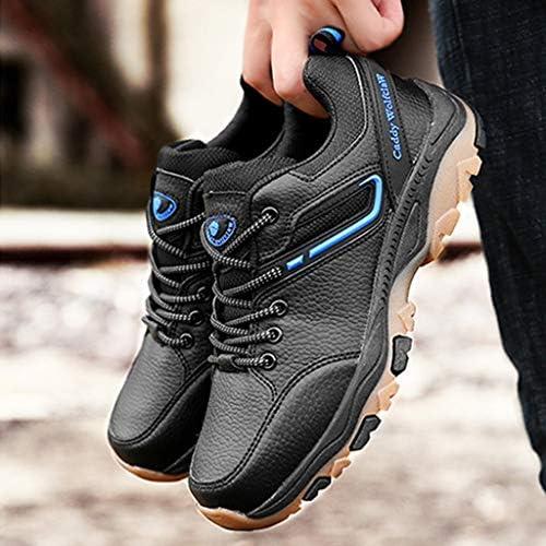 メンズ防水ハイキングシューズノンスリップ軽量靴スニーカーオールシーズンウォーキング旅行バックパッキング用 (Color : Black blue, Size : 7.0UK)