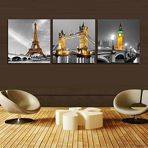 H.COZY Eiffel Tower Canvas Wall Art Home Decorating Living Room 3 Units  Canvas Painting (unframed) Far62 48x16 Inch