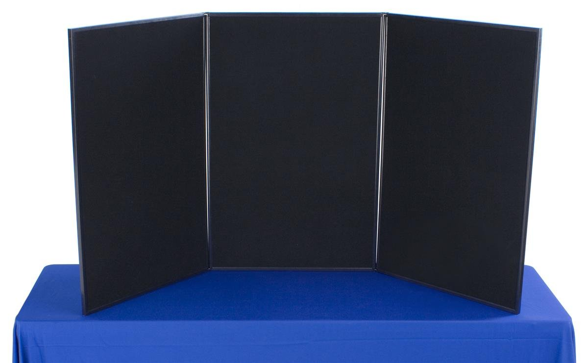 Displays2go 3-Panel Tabletop Exhibition Board, 72 x 36 Inches Velcro-Receptive Fabric, Black and Gray (3P7236BKGR)