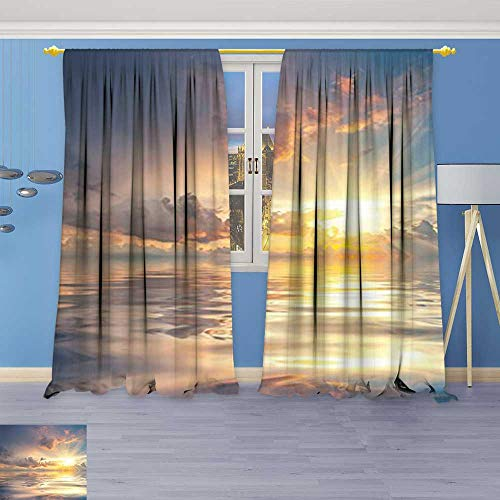 Philiphome Antique Decor Collection,Collection Mystic View of Sunset Over Sea with Reflection in Water Majestic Clouds,Living Room Bedroom Curtain 2 Panels (Majestic 2 Light Sconce)