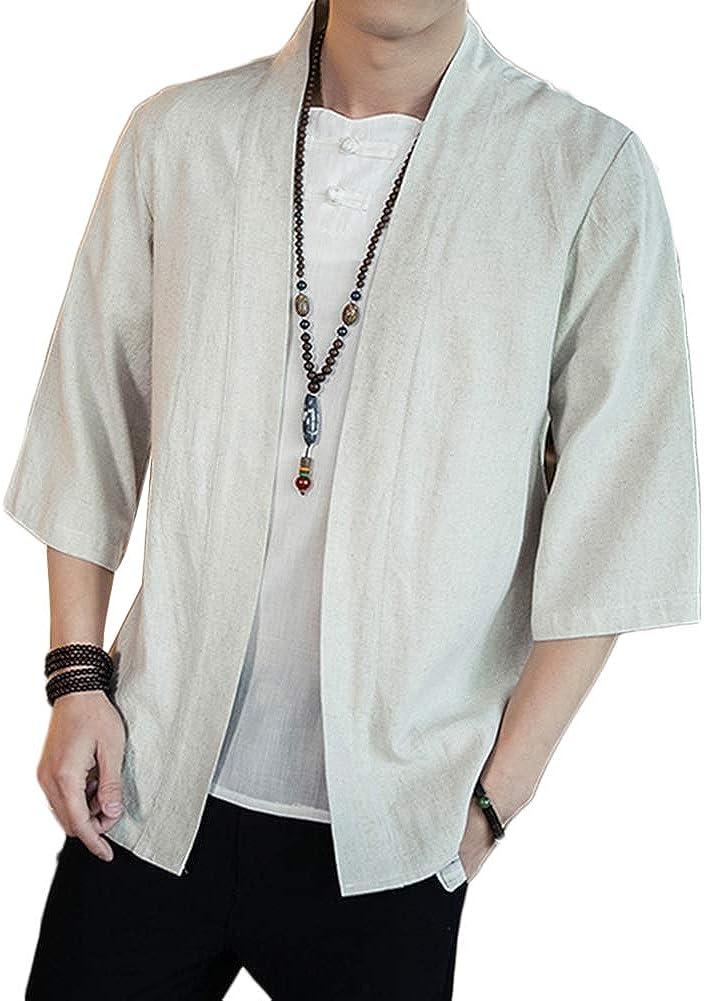 GladiolusA Chaqueta Haori C/árdigan Kimono Jap/ón Capa Abrigo Corto para Hombres