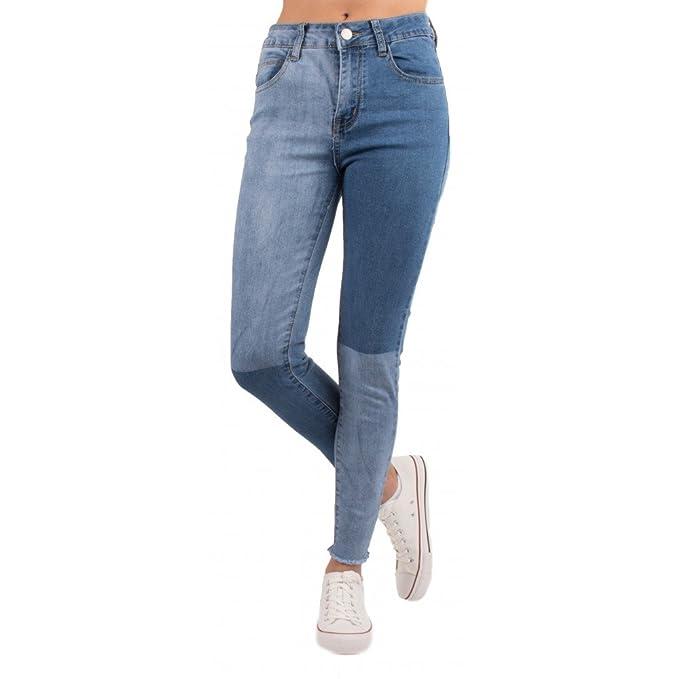 Primtex Jean Slim Bleu Clair Femme Taille Haute Effet Bicolore dégradé    Franges Cheville-  Amazon.fr  Vêtements et accessoires 8acdd48c7095