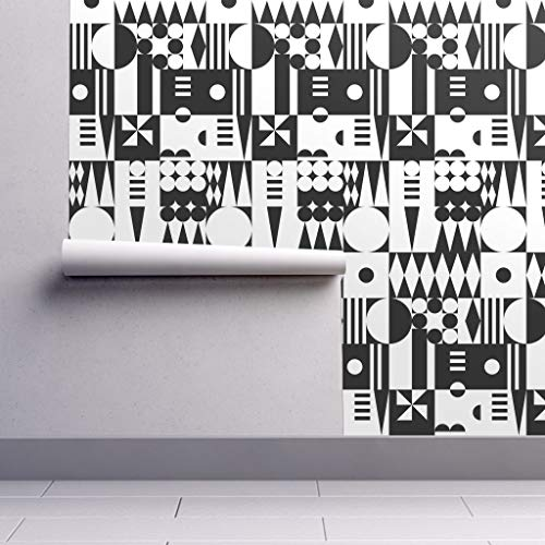 Peel-and-Stick Removable Wallpaper - Bauhaus Geometric Abstract Mod Harlequin Black and White by Vivsfabulousmess - 24in x 144in Woven Textured Peel-and-Stick Removable Wallpaper Roll